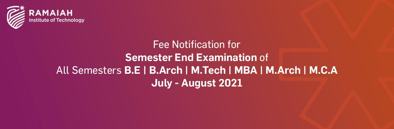 Semester End Examination Fee Notification Jun July 2021